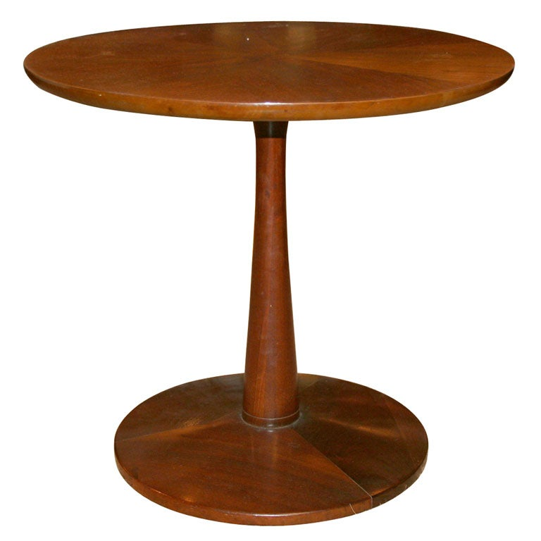 Pedestal Base Walnut Occasional Table by Drexel