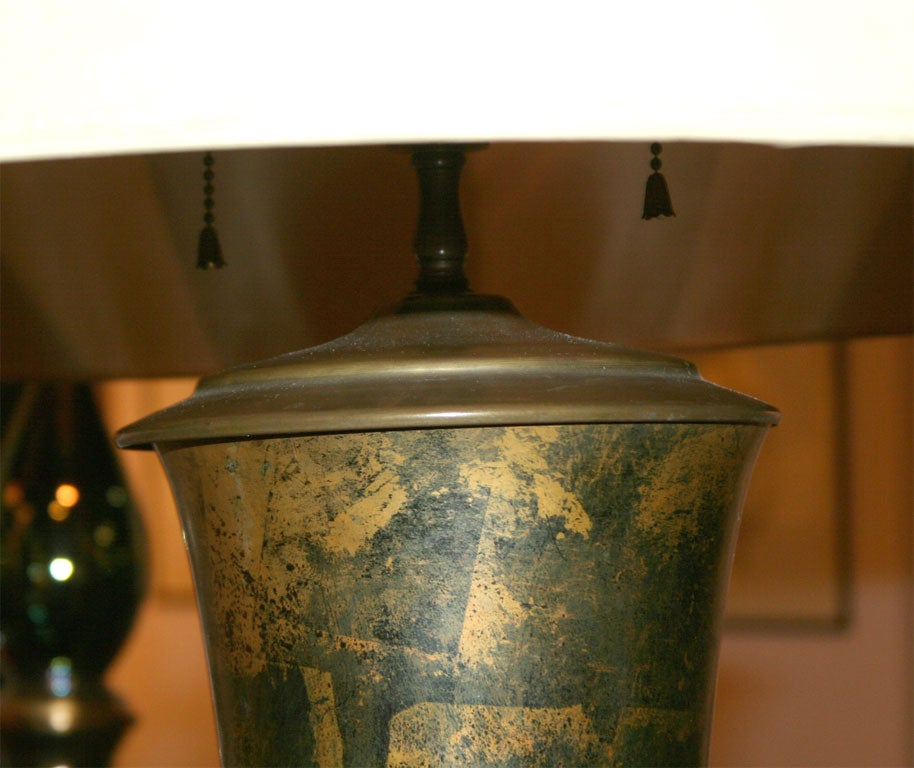 American Bronze Patchwork Patinated Table Lamp after James Mont For Sale