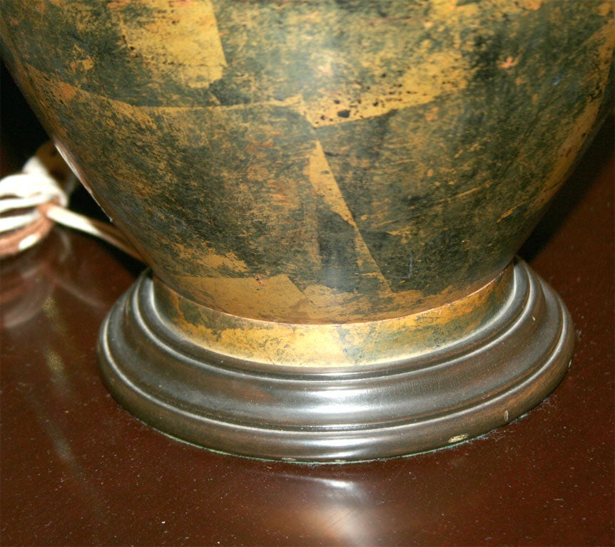 Bronze Patchwork Patinated Table Lamp after James Mont In Excellent Condition For Sale In New York, NY
