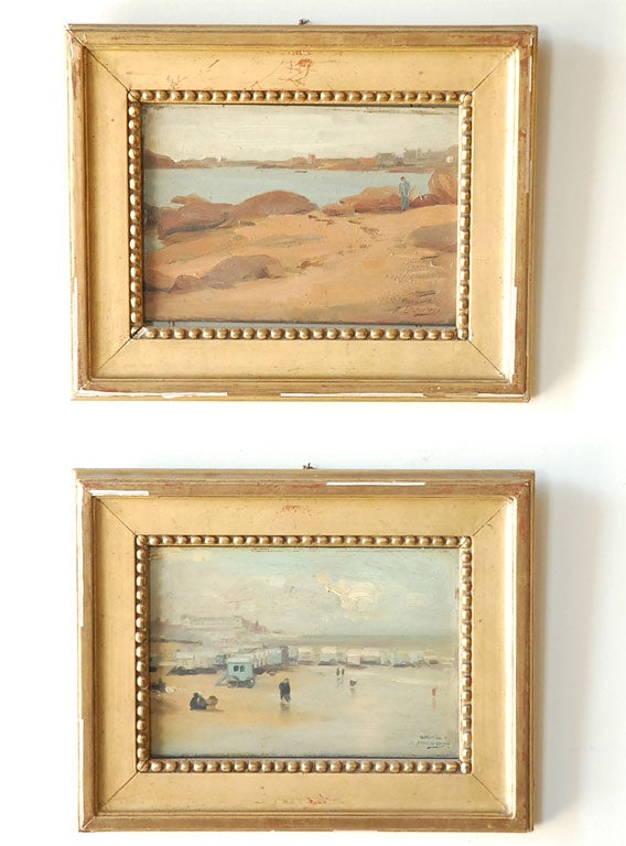 Pr. of French Paintings,  Coastal Scenes by Hubert D. Etcheverry image 2