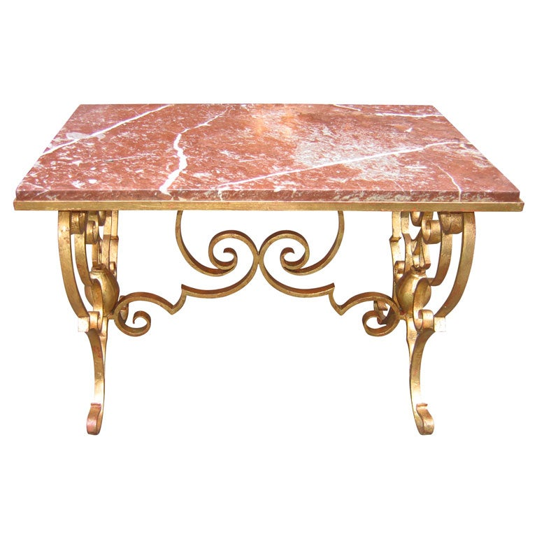 1940s gilt wrought iron and marble coffee table at 1stdibs for Marble and wrought iron coffee table