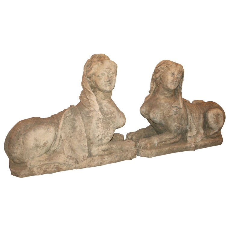 Pair Of 1920s European Female Sphinx Statues 1