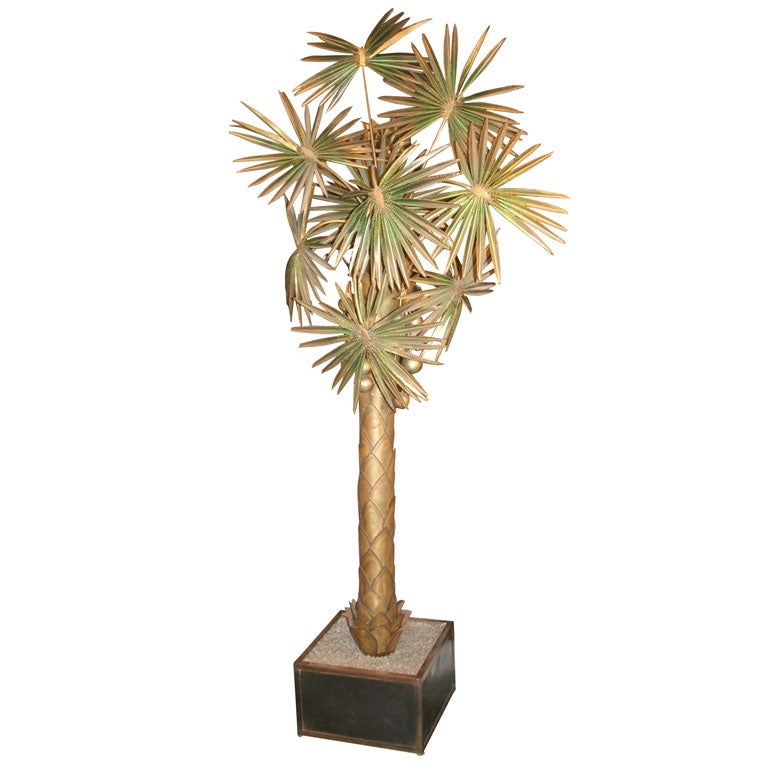 1960 39 s french metal spike palm tree floor lamp at 1stdibs. Black Bedroom Furniture Sets. Home Design Ideas