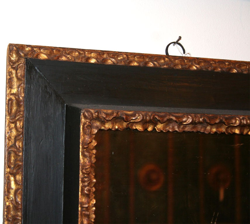 Baroque 17th Century Italian Painted and Giltwood Frame with Mirror For Sale