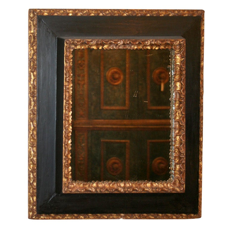 17th Century Italian Painted and Giltwood Frame with Mirror For Sale
