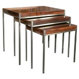 Set of 3 Nesting Table in Brazilian Rosewood and Chrome