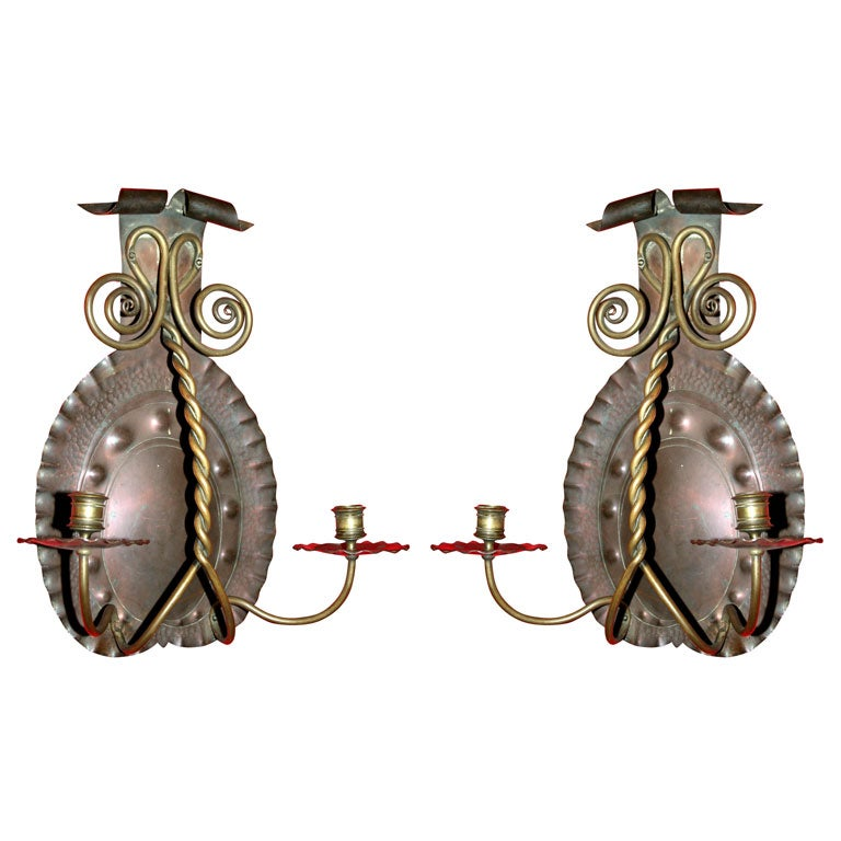 Hammered Copper Wall Sconces : American Arts and Crafts Hammered Copper and Brass Sconces at 1stdibs