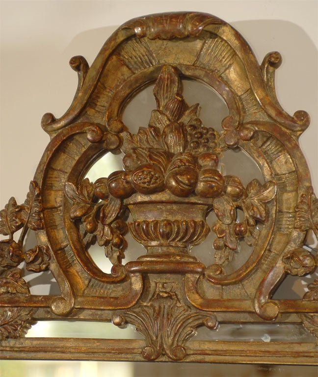 Rococo French Louis XV Trumeau Mirror For Sale