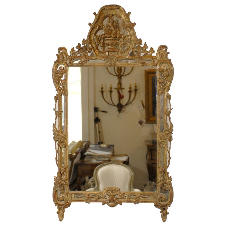 French Louis XV Trumeau Mirror For Sale