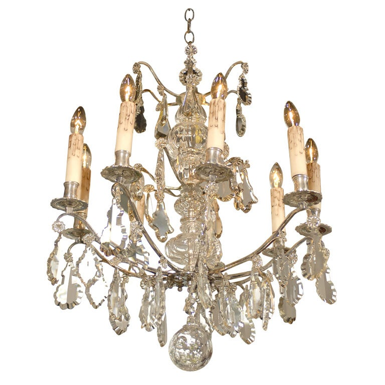 Silver and Crystal Chandelier at 1stdibs