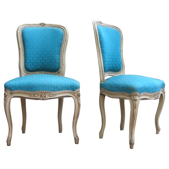 Two Louis XV Style Blue Chairs
