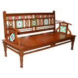 Colonial Teak, Tiled Bench from Gujarat