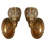 Pair of Bronze and Iridescent Glass Sconces