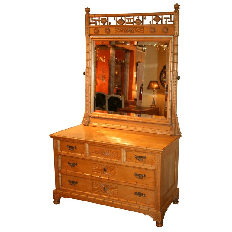 Aesthetic Movement Faux Bamboo Dresser Attrib To R J