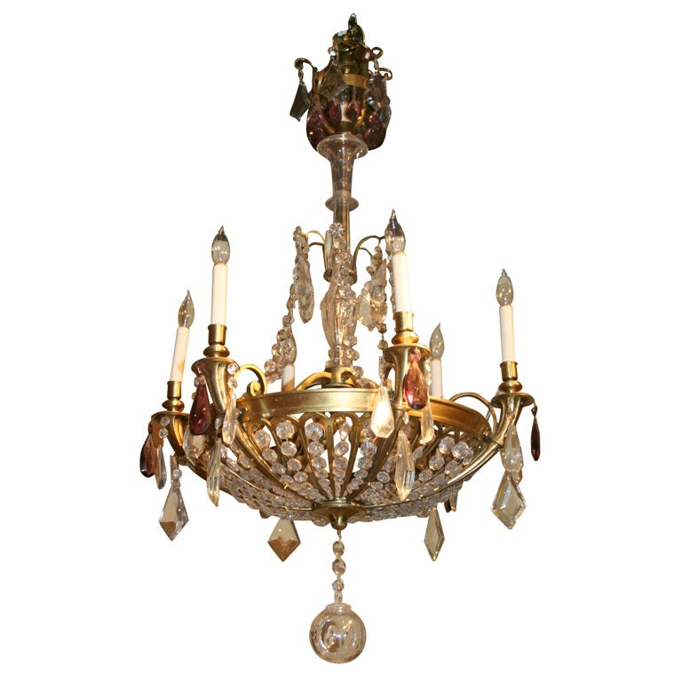 French Art Deco Bronze and Crystal 10-Light Chandelier