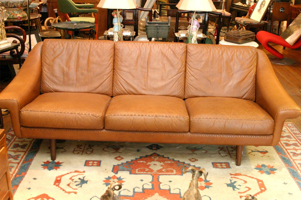 Danish Modern Leather Couch At 1stdibs