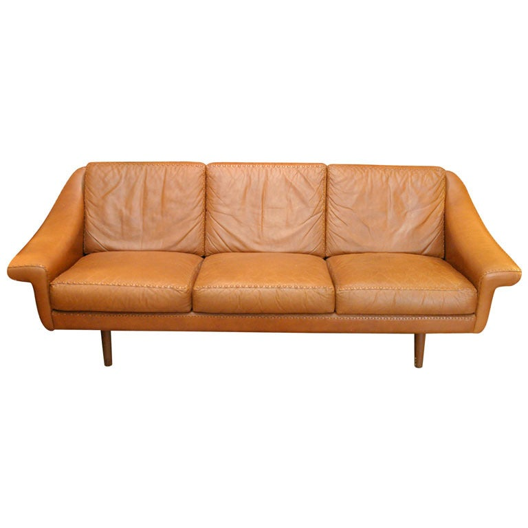 danish modern leather couch at 1stdibs. Black Bedroom Furniture Sets. Home Design Ideas
