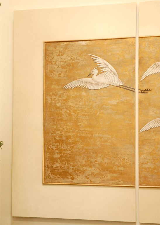 4 Panel Gold Leaf And Lacquer Relief At 1stdibs
