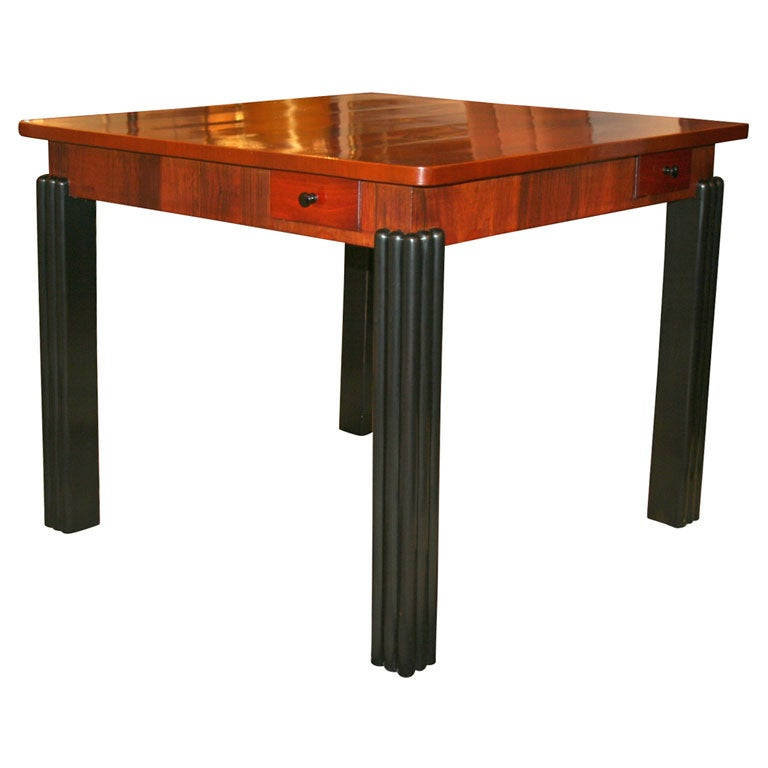Art deco game table in bookmatched walnut at 1stdibs for 10 in 1 table game