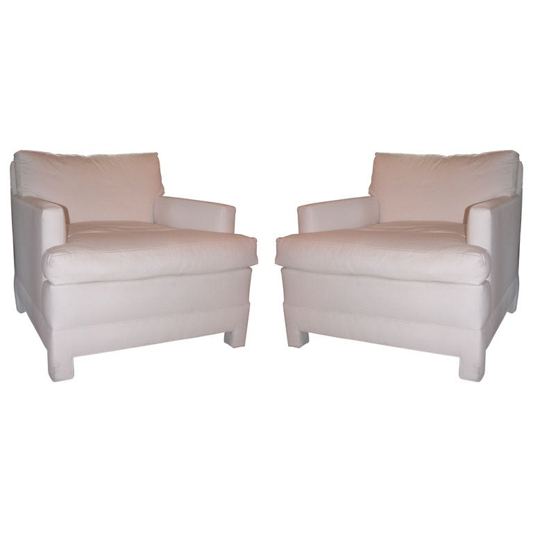 Pair white of upholstered club chairs for sale at 1stdibs