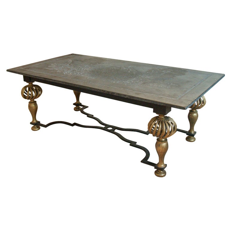 Gilt wrought iron coffee table with etched slate top at 1stdibs Slate top coffee tables