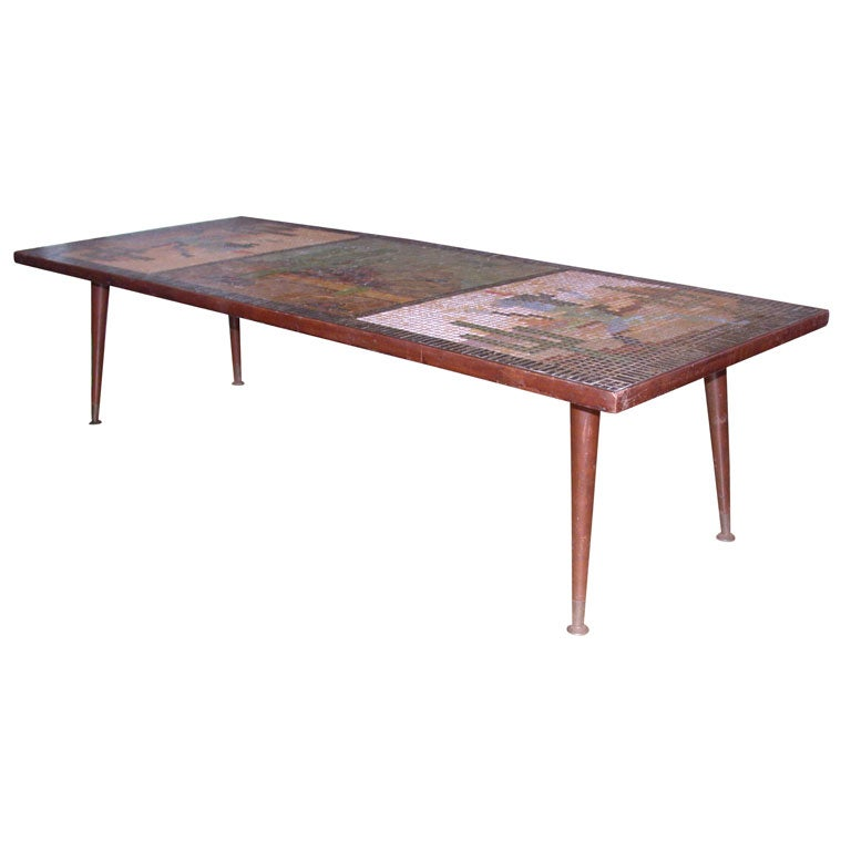 4039s unique southwestern mosaic tile table for sale at 1stdibs for Southwestern coffee table