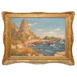 Seascape Oil Painting in Gilded Frame, Circa 1920