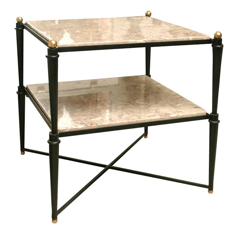 50 39 S Italian Iron And Marble Tall Coffee Table End Table