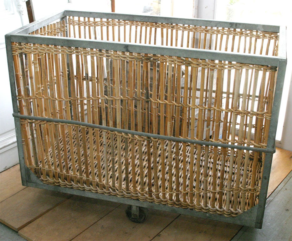 French Bamboo/Metal Laundry Cart At 1stdibs
