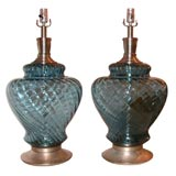 MONUMENTAL PAIR OF GLASS LAMPS IN A BEAUTIFUL CLEAR BLUE