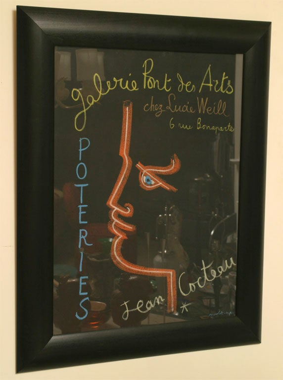 Wood Vintage Authentic Mid-Century Modern French Jean Cocteau Framed Stone Lithograph For Sale