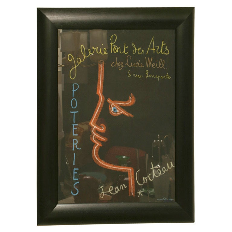 Vintage Authentic Mid-Century Modern French Jean Cocteau Framed Stone Lithograph