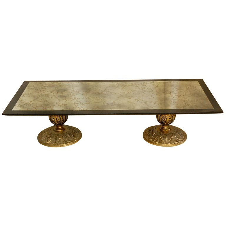 Brass And Antiqued Mirror Coffee Table At 1stdibs
