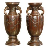 PAIR OF JAPANESE BRONZE URNS