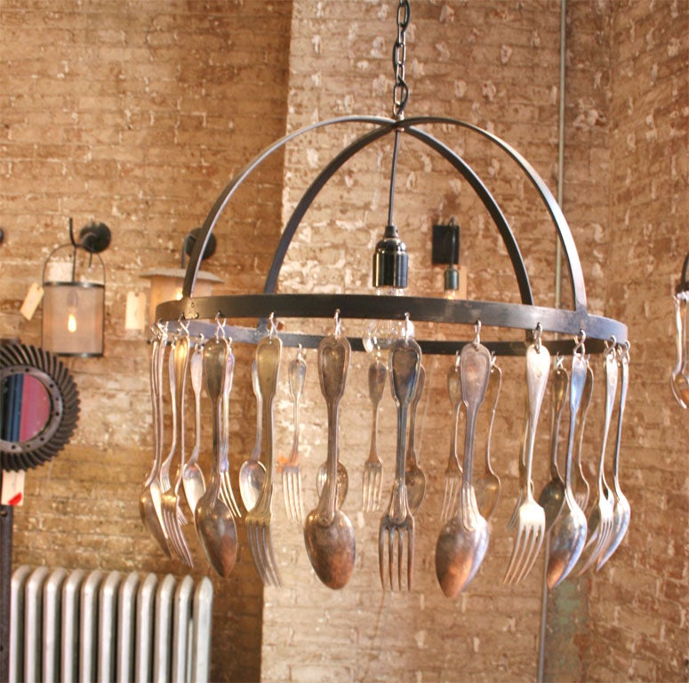 BROCANTE SINGLE TIER CHANDELIER WITH VINTAGE SPOONS AND STEEL FRAME (PATINA FINISH)