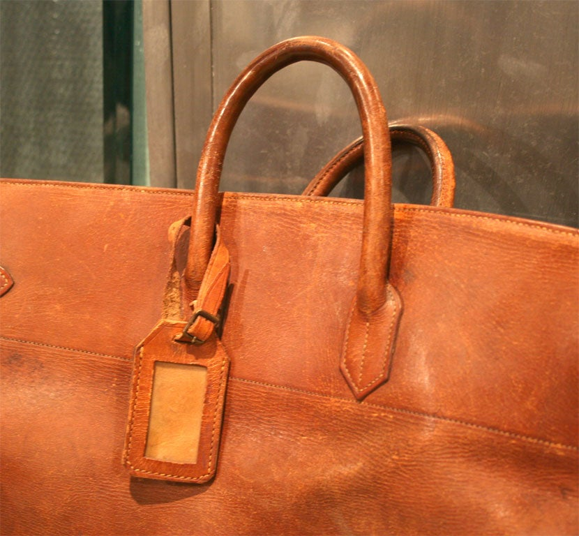 Mid-20th Century Giant Hermes HAC Leather Travel Bag For Sale