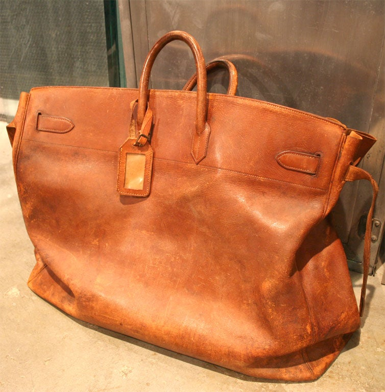 Enormous, rare Hermes leather travel bag. A beautiful, unique way to travel in style.