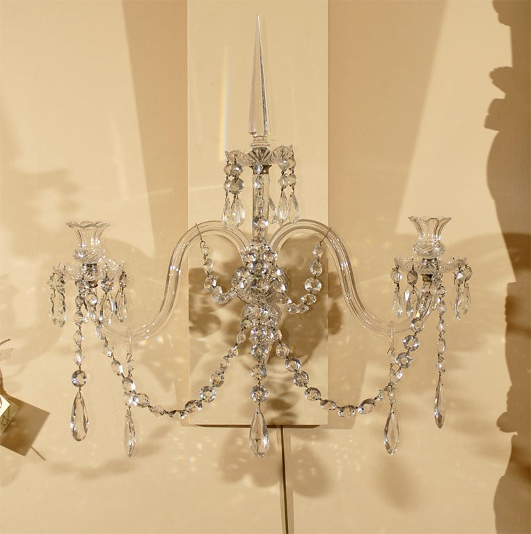 Pair Three-branch Crystal Wall Sconces, c. 1820 at 1stdibs