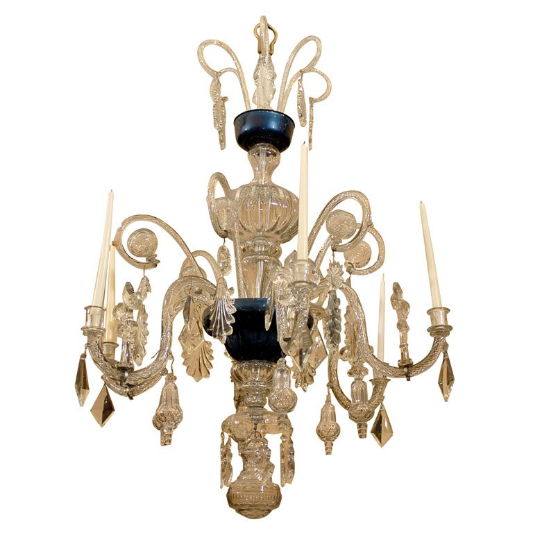 Spanish Crystal And Blown Glass 6 Arm Chandelier C 1850