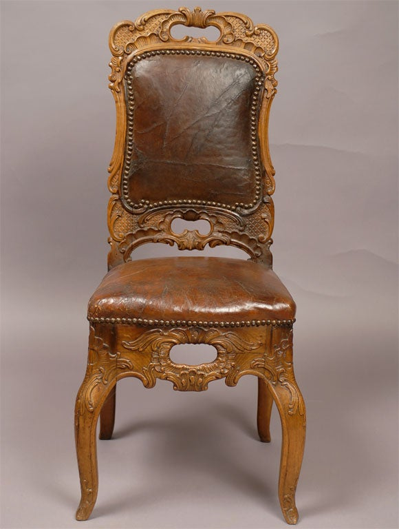 Austrian Musician S Chair With Leather Upholstery C 1760
