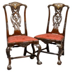 Pair Dutch Rococo Chairs In Walnut With Gilt Accents, C. 1740