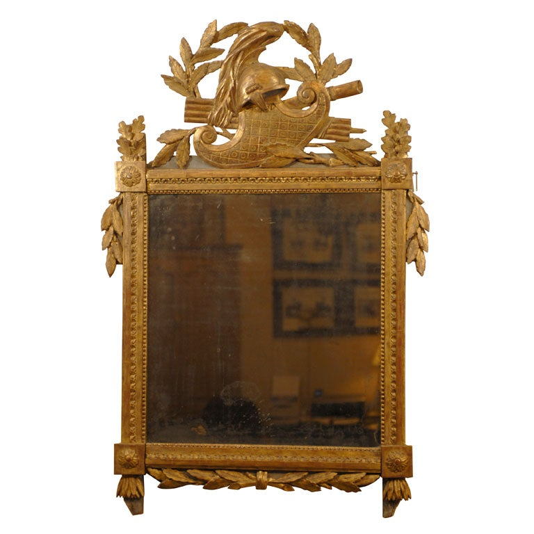 Louis XVI Giltwood Mirror with Crest, circa 1780