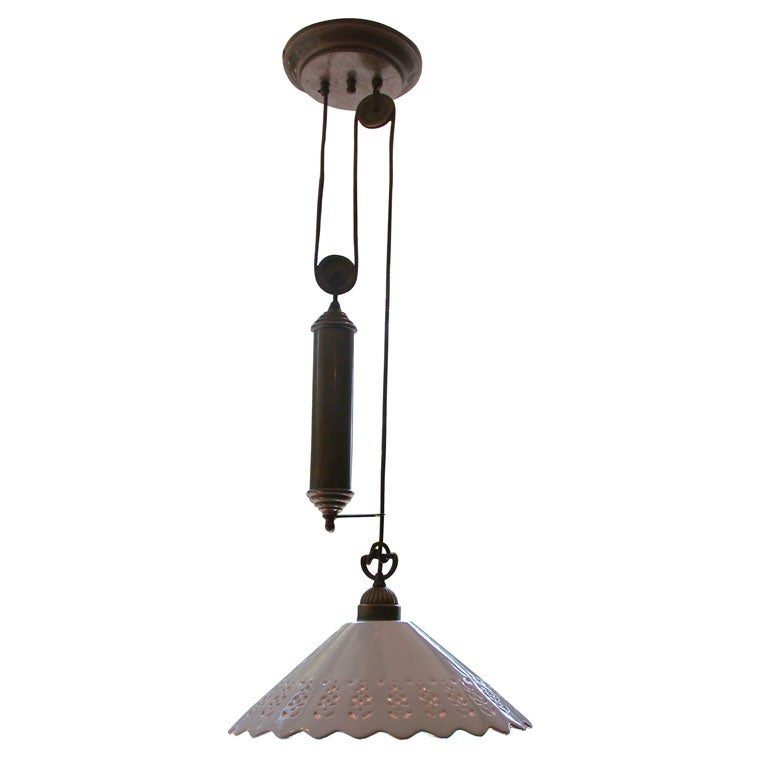 Il Fanale Single Pendant Light Fixture With Brass Pulley