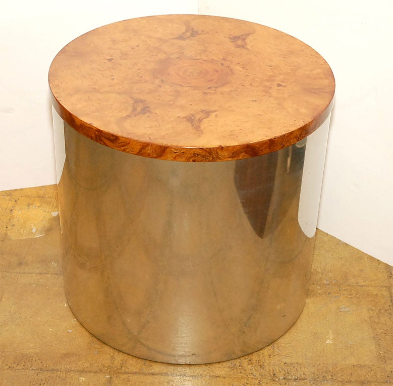 Chrome Drum Coffee Table: Pace Chrome And Burl Drum Table At 1stdibs