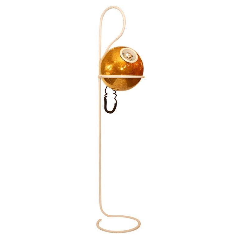 Gold mercury glass globe floor lamp at 1stdibs for Gold globe floor lamp
