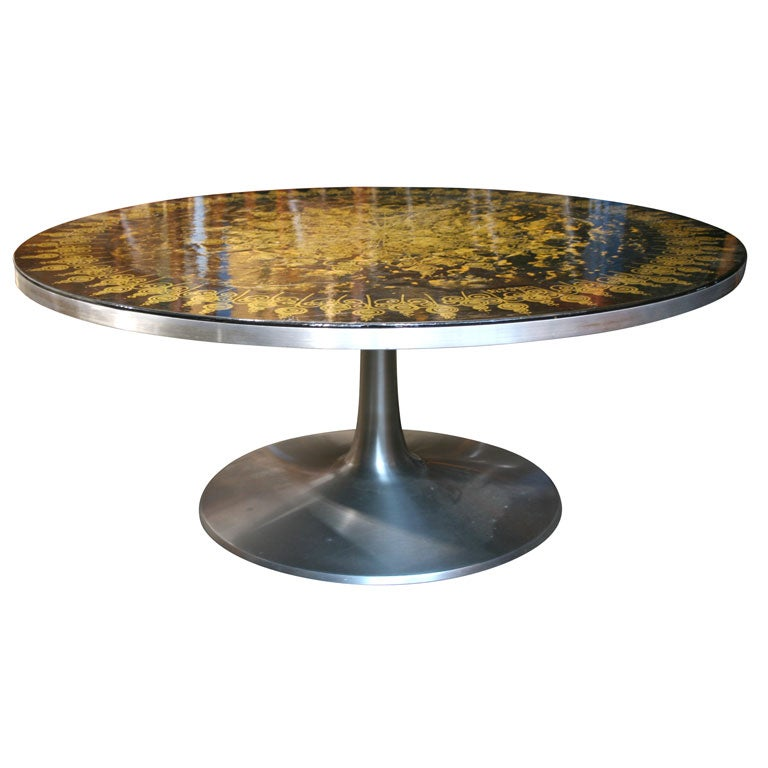 Hand Painted Pedestal Coffee Table