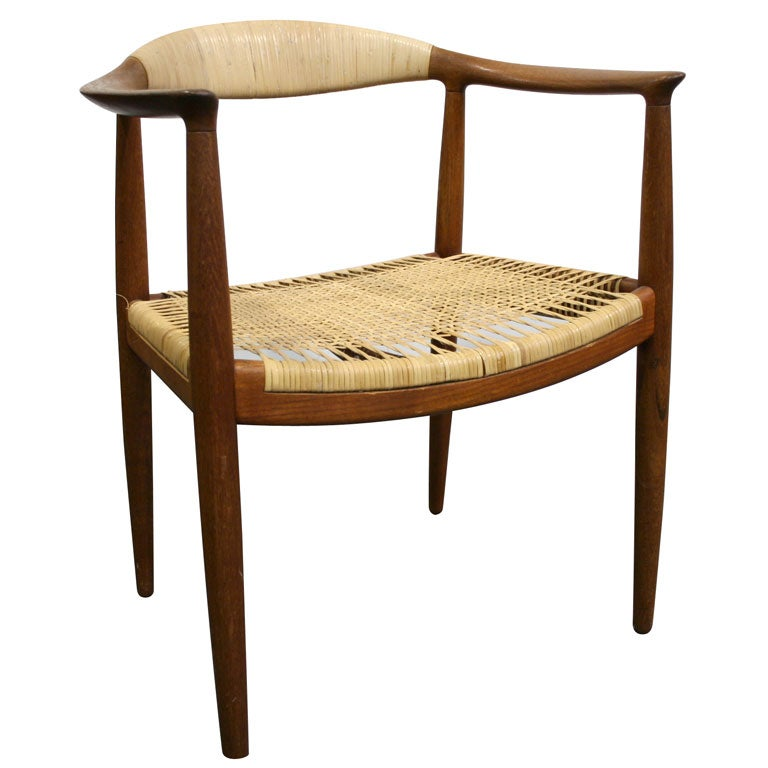 Teak And Cane Round Chair By Hans Wegner At 1stdibs