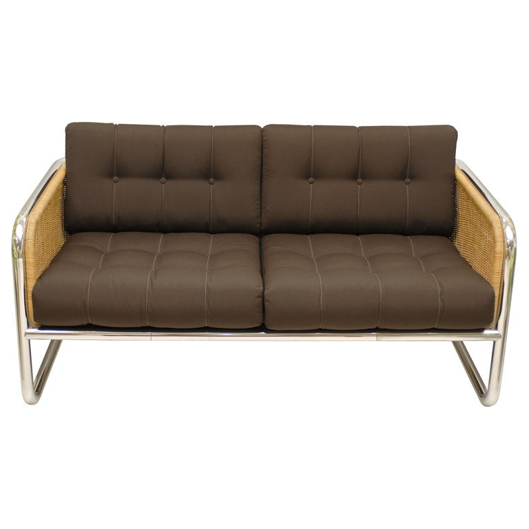 Vintage Chrome And Wicker Sofa At 1stdibs