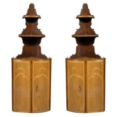 Pair of Large Inlaid Hanging Corner Cupboards in Walnut, France c. 1790