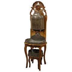 Louis XV Walnut & Pewter Lavabo w/ Original Basin, c. 1740